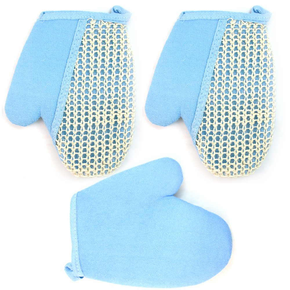 3 PC Exfoliating Bath Body Glove Spa Sponge Loofah Loofa Sisal Scrubber Shower