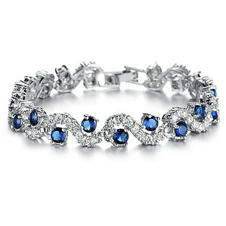 Blue Sapphire Emerald Bracelet (Fashionable Blue Sapphire Bracelet Jewelry in Two Lengths With Gift Box )