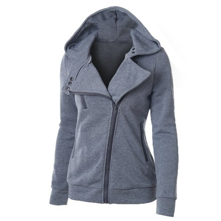 Large Size Women Sports Personality Side Zipper Hooded Cardigan Sweatshirt Sweater Jacket Fashion Coat (Womens Snowboard Jacket Large)