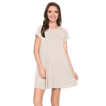 3bf4016e0e35 Womens Plus Size Short Sleeve T Shirt Dress Trapeze Tunic Dress with Pockets  USA