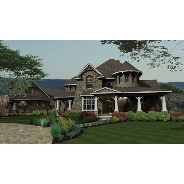 TheHouseDesigners-2325 Luxury European House Plan with Slab Foundation (5 Printed Sets)