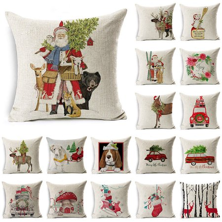 22 Santa Pillow (Girl12Queen Christmas Dog Santa Claus Reindeer Cushion Cover Throw Pillow Case Sofa)