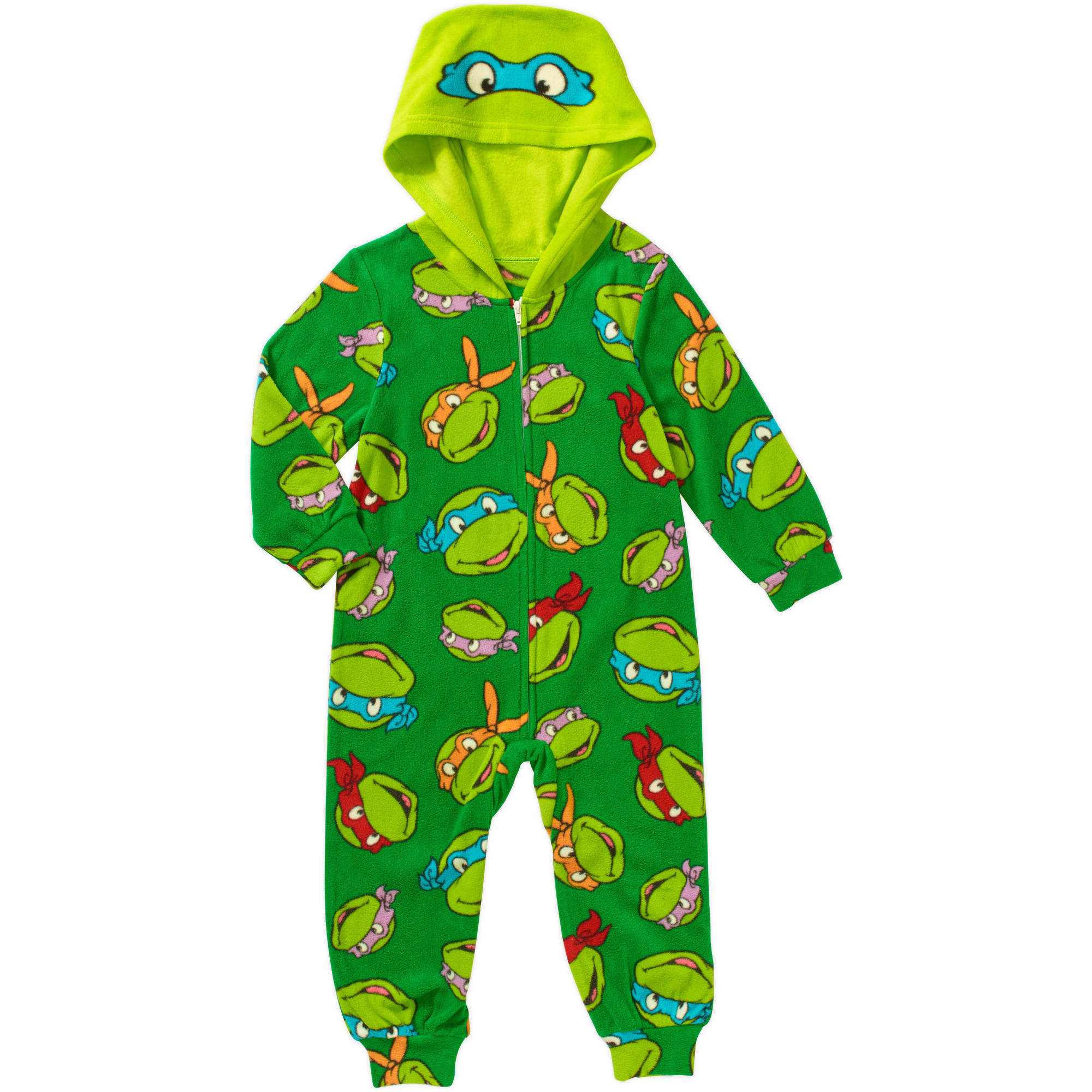 Teenage Mutant Ninja Turtles Toddler Boy Hooded Novelty Zip Footed Pajama