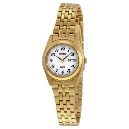Solar White Dial Gold-tone Ladies Watch SUT118