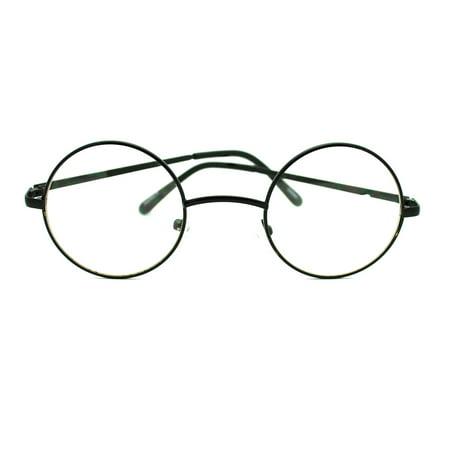 Metal Frame John Lennon Circle Lens Round Eyeglasses - Black