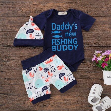 534cce8cfb16 3PCS Newborn Infant Baby Boy Tops Romper+Shorts Pants+Hat Summer Outfits  Set Clothes