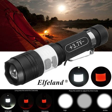 - Elfeland 2000LM USB Rechargeable T6 LED 3-Mode Flashlight Torch Zoom Light Lamp For Camping Fishing
