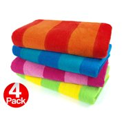 Kaufman 4 Pack Velour Two Color Stripe Beach Towel. 30in x 60in, Assorted Colors