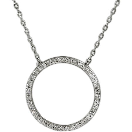 Sterling Silver Cubic Zirconia Open Circle Necklace, 18