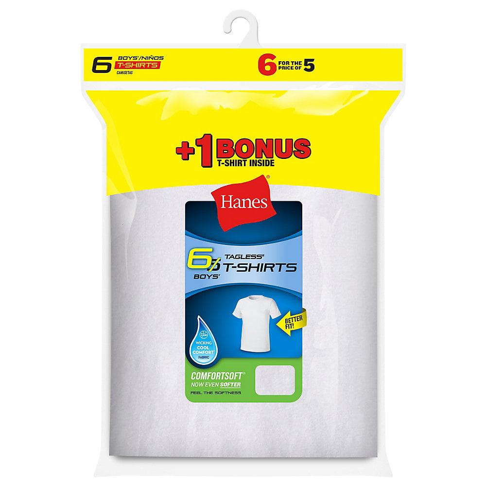 Hanes Boys' TAGLESS® Crewneck Undershirt 6-Pack (Includes 1 Free Bonus Undershirt) - B21386