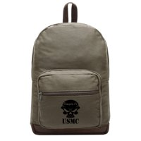 USMC Semper Fi Skull Marine Corp Teardrop Backpack with Leather Bottom Accents