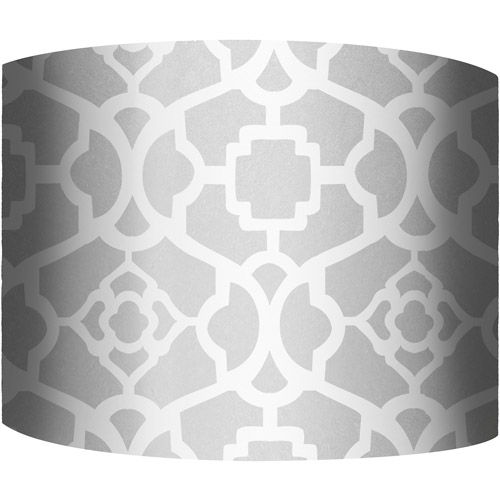 "12"" Drum Lamp Shade, White and Silver I"