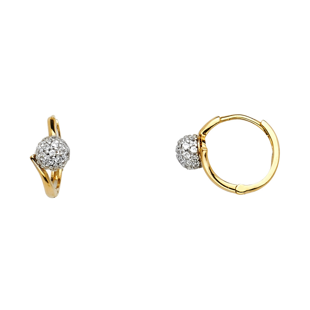 14K Solid Gold Polished Round Cubic Zirconia Huggies Hoop Earrings