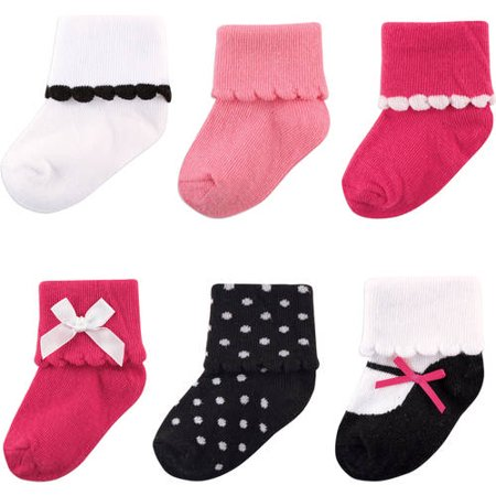 Scalloped Roll Cuff Socks, 6-Pack (Baby Girls)