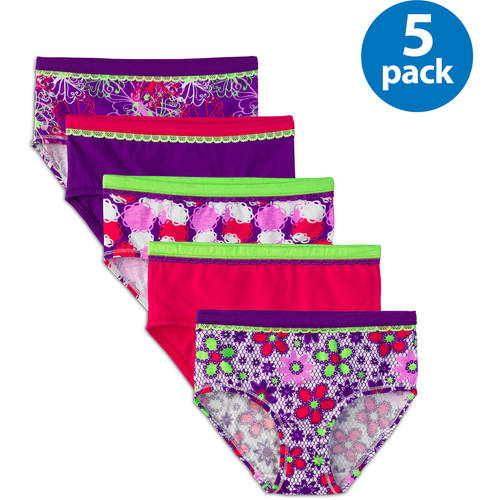 Fruit of the Loom Girls' Cotton Stretch Brief Panty, 5-Pack Value