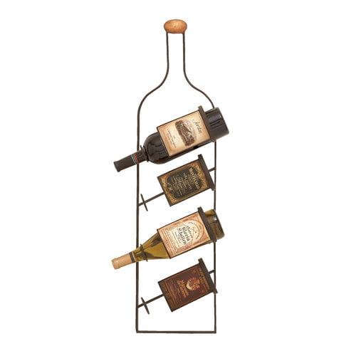 Metal Wall Wine Rack cole & grey 4 bottle wall mounted wine rack - walmart