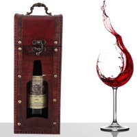 Tebru Vintage Single Red Wine Storage Box Portable Wooden Wine Package Gift Box W/ Handle, Wine Box, Vintage Wine Box