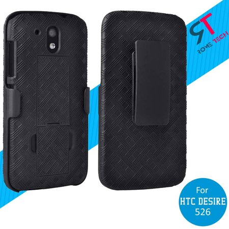 Htc Women Accessories - Rome Tech Shell Holster Combo Case in Black With Kickstand For HTC Desire 526