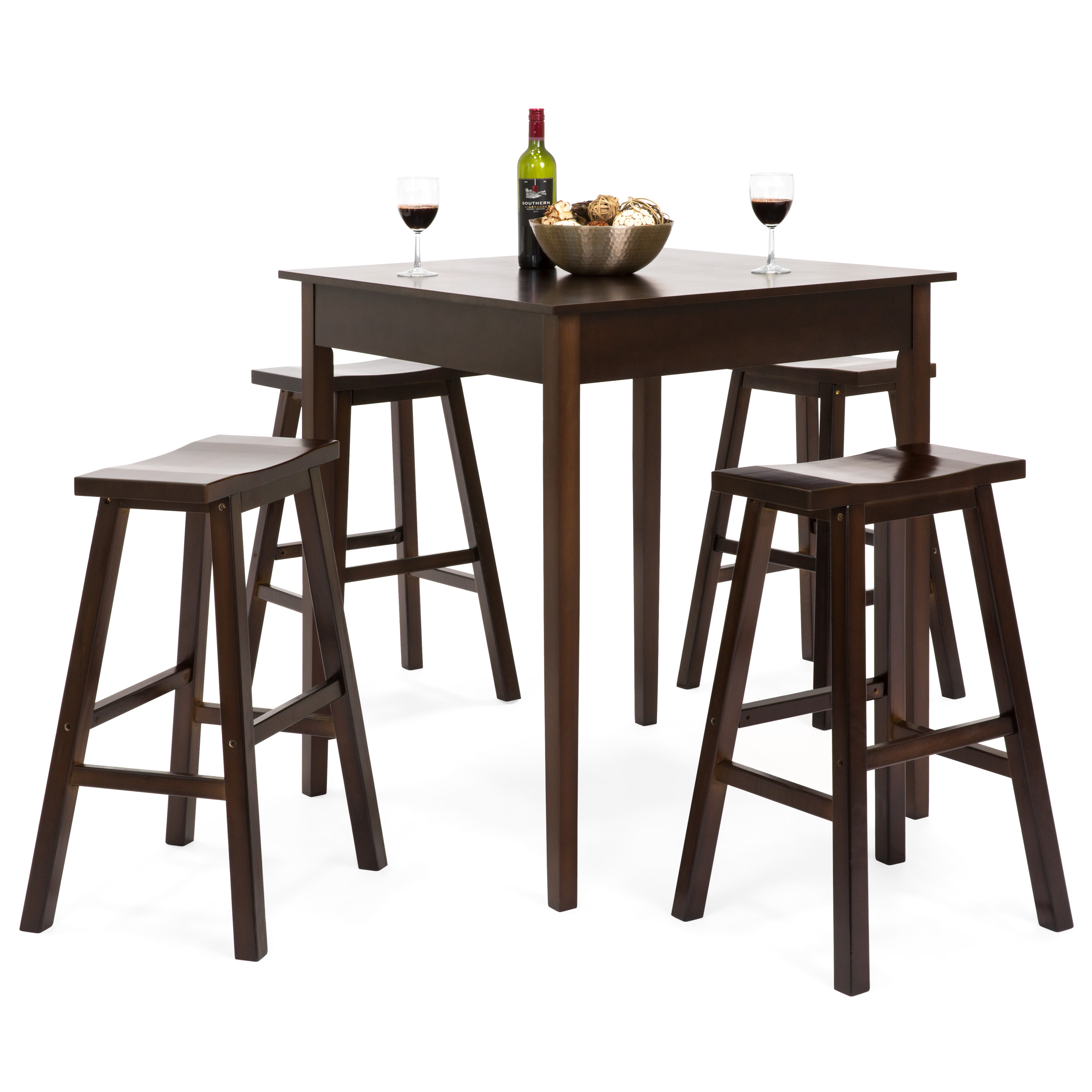 Best Choice Products 5 Piece Solid Wood Dining Pub Pub Table Set with 4 Backless Saddle Stools by Best Choice Products