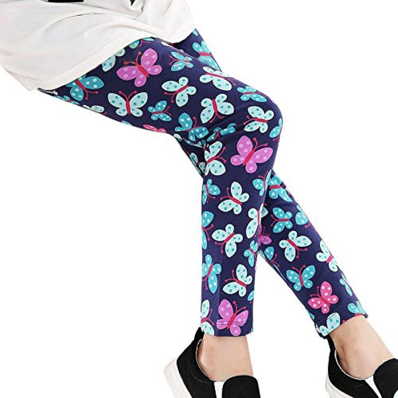 Print Pants,Han Shi Kids Girls Fashion Flower Printing Elastic Waist Leggings Pencil Trousers (60, Blue)