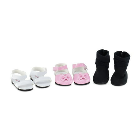 18 Inch Doll Clothes| Value Pack Doll Shoes, Including Pink Easter Shoes, White Sandals and Black Boots |Fits American Girl Dolls