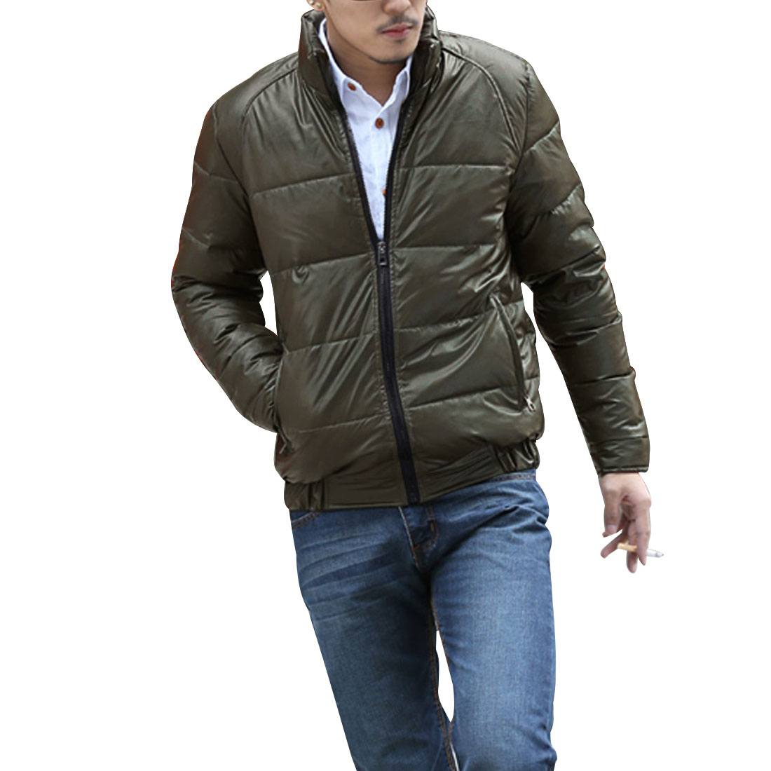 Mens Olive Green Warm Padded Zipped Pockets Elastic Hem Leisure Wadded Coat