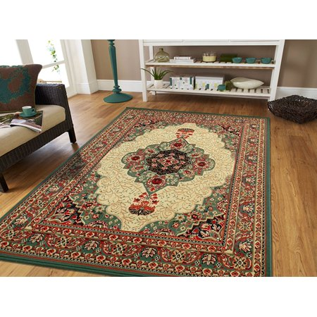 green traditional area rug 8x11 style rug dynamix 87751