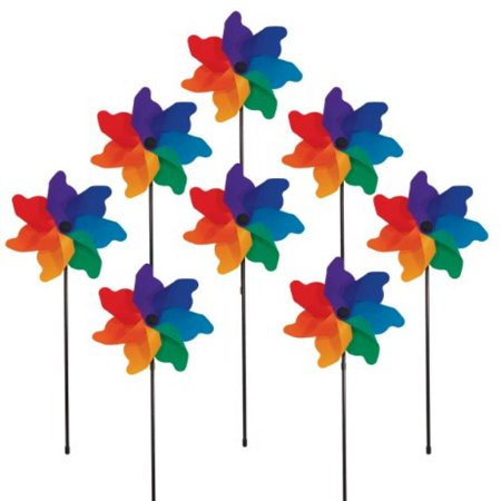 In the Breeze Rainbow Poly Petal Pinwheel Spinners (8 PC assortment)](Rainbow Pinwheel)