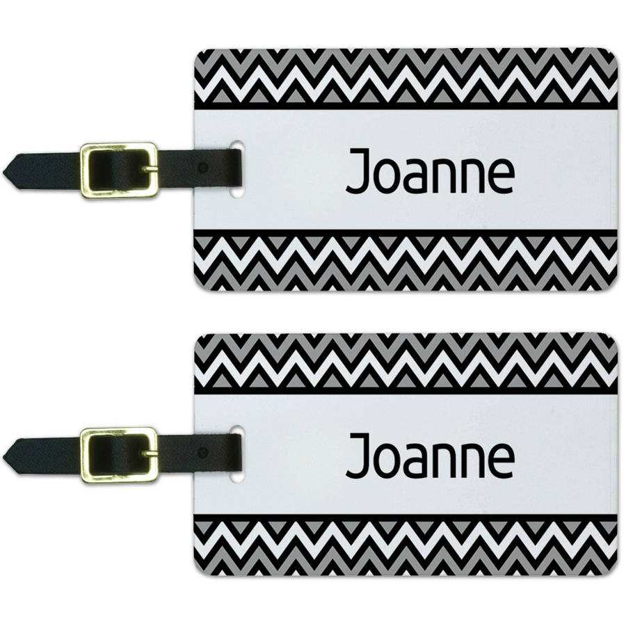 Joanne Black and Grey Chevrons Luggage Suitcase Carry-On ID Tags, Set of 2