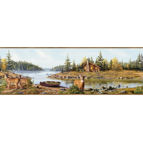 Brewster Home Fashions Outdoors Cabin Creek Portrait 15' x 8'' Wildlife 3D Embossed Border Wallpaper