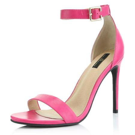DailyShoes Strap Stiletto Heels High Low Heel Sandal Stilettos Buckled Ankle Open Toe Fashion Shoes Nighttime Sandals for Women Fuchsia,pu,5.5 Pump Medium Heel Ankle Strap