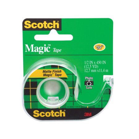 Scotch 040647 Photo-Safe Writable Self-Adhesive Invisible Tape With Dispenser, 0.5 x 450 In, Matte Clear