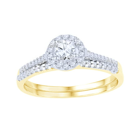 White Natural Diamond Frame Bridal Ring Set In Solid Gold (0.5 Cttw)