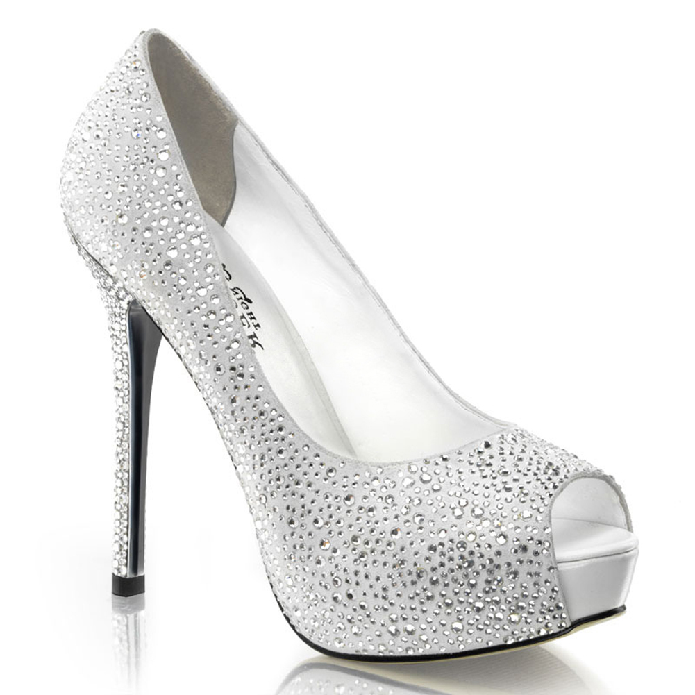 5 Inch Rhinestone Peep Toe Pumps Black Silver Women's Sexy High Heel Shoes