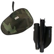 Folding Foldable Military Shovel Mini Emergency Survival Compass Spade Entrenching Tool With Camo Carrying Pouch for Camping, Hiking, Backpacking, Gardening (Black)