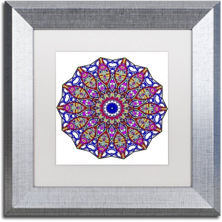 "Trademark Fine Art ""Bubbles Mandala Overflowing"" Canvas Art by Kathy G. Ahrens, White Matte, Silver Frame"