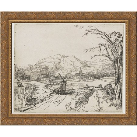 Landscape with a shepherd and a dog 24x20 Gold Ornate Wood Framed Canvas Art by Rembrandt