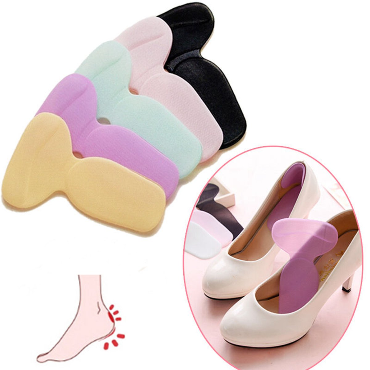 1Pair Soft Silicone High Heel Foot Care Cushion Shoe Insert Dance Insole Pads SPECIAL TODAY !