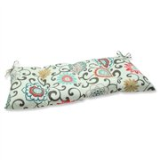 Pillow Perfect Outdoor/ Indoor Pom Pom Play Lagoon Wrought Iron Loveseat Cushion