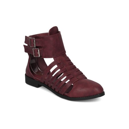 Women Cut Out Ankle Boot - Festival Strappy Bootie - Trendy Summer Party Moto Boot HC79 by Machi Collection