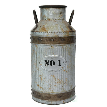 Galvanized Metal Rustic Milk Can, Large