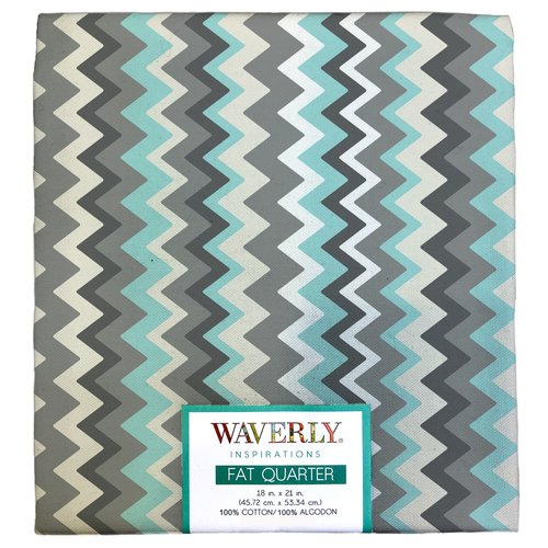 "Waverly Inspiration Chevron Multi Aqua Fat Quarter 100% Cotton, Chevron Print Fabric, Quilting Fabric, Craft fabric, 18"" by 21"", 140 GSM"