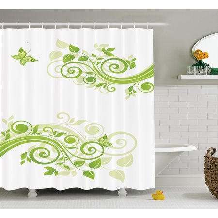 Green Shower Curtain Floral Botanical Artistic Design With Curly Branches And Butterfly Fabric Bathroom