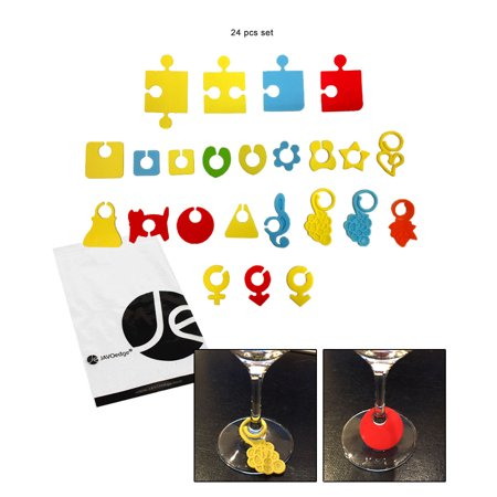 JAVOedge Wine Glass Silicone Tags For Stemmed Wine Glasses Bundle Mix and Match -