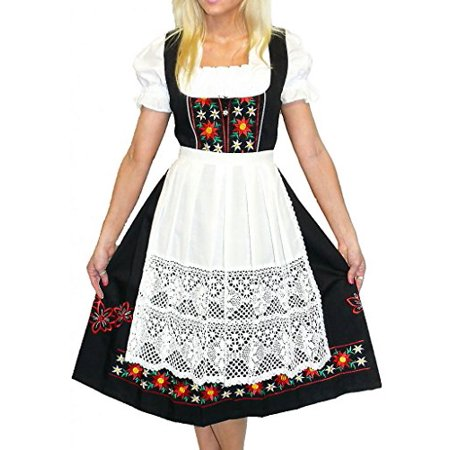 3-piece Long Black German Party Oktoberfest Dirndl Dress