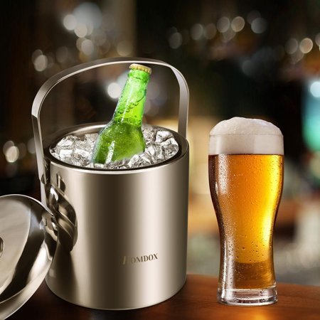 Ice Bucket, Insulated Stainless Steel Double Walled 3L Wine Bottle Chiller with Lid, Ice Bucket with Whiskey Stones and Tongs for Parties, Gatherings, Bar, Silver TOYS2 ()