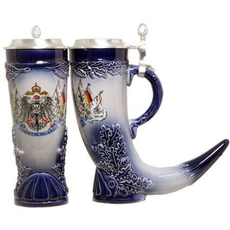 German Beer Stein German Horn with Pewter Lid .5L ONE Mug Made in Germany New