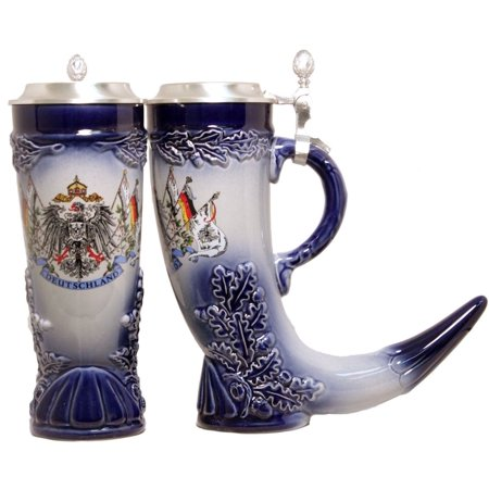 - German Beer Stein German Horn with Pewter Lid .5L ONE Mug Made in Germany New