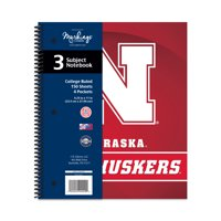 NCAA Nebraska Cornhuskers 3 Subject Spiral Notebook, 150 Sheets, College Rule