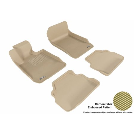 3D MAXpider Stylish Custom Fit All Weather Floor Mats for 2007-2013 BMW 3 Series Coupe (E92) Front & Second Row in Tan with Carbon Fiber Look